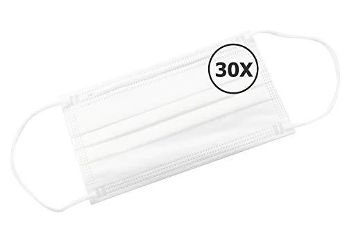 TBOC Mascarilla Higiénica No Reutilizable -  [Pack 30 Unidades] Máscara 3 Capas [Blanco] Ligera Suave y Transpirable [Desechables] con Pinza Nasal Protección Facial [Alta Filtración]