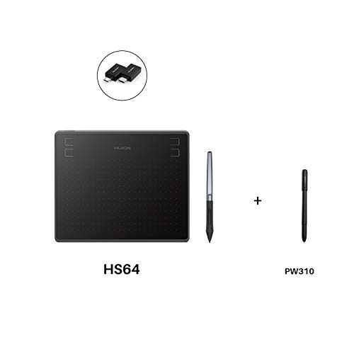 Huion HS64 Graphics Drawing Tablet 6.3'x 4' Battery-Free Stylus Android Devices Supported with PW100 and Huion Scribo PW310