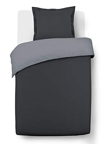 Vision Housse de Couette Bicolor réversible 140x200cm avec 1 taie 65x65cm - 100% Coton Gris/Anthracite