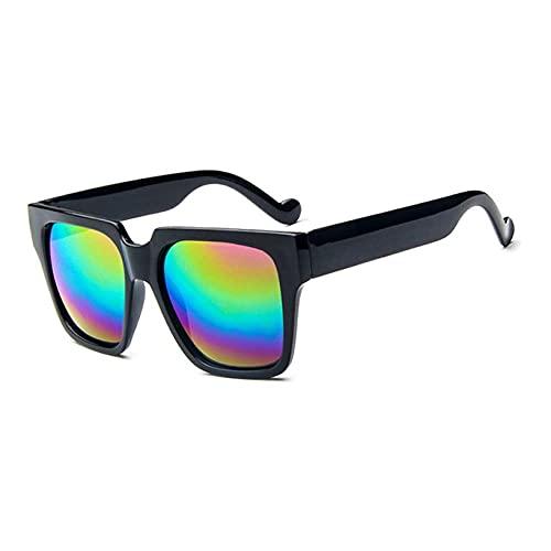 YLWL Gafas de Sol de Espejo de diseño de Marca Vintage prácticas y sólidas de Moda Gafas de Sol de Lentes Planas Reflectantes de Metal