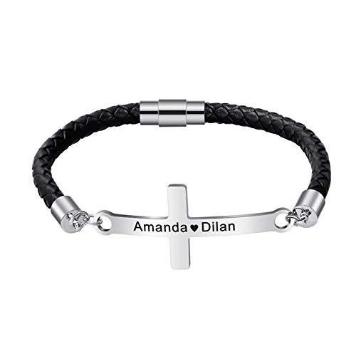 Pulsera con nombre DIY, pulsera de cuero, pulsera brillante, pulsera trenzada, pulsera de cuerda, joyería personalizada para novio(Acero inoxidable 23cm)