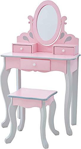 Child Cosmetic Table Combinación, Mesa de tocador para niña Mesa de tocador Niños Mesa y silla Conjunto de mesa Silla de mesa Regalo de cumpleaños,Pink