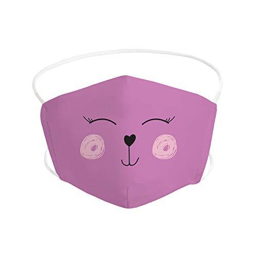 Pekebaby Mascarilla Infantil de tela lavable reutilizable 2 capas + bolsillo con 1 filtro incluido, diseño 001 HEART FUCSIA, doble ajuste elástico