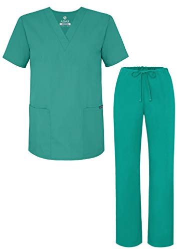 Adar Universal Unisex Pflegebekleidung - Unisex Set mit Kordelzug - 701 - Surgical Green - 2X