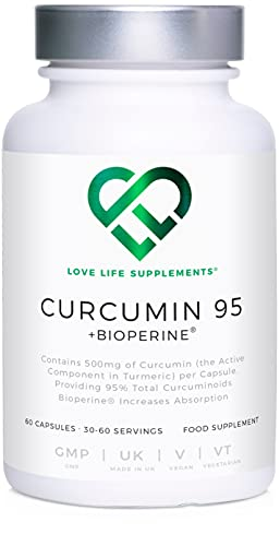 Curcumin 95 + Bioperine® by LLS   Highest Quality Turmeric Extract containing ONLY CURCUMIN (the active component of Turmeric) with 95% Curcuminoids and Bioperine® (black pepper extract)   500mg x 60 Veg Capsules   Made in UK under GMP License