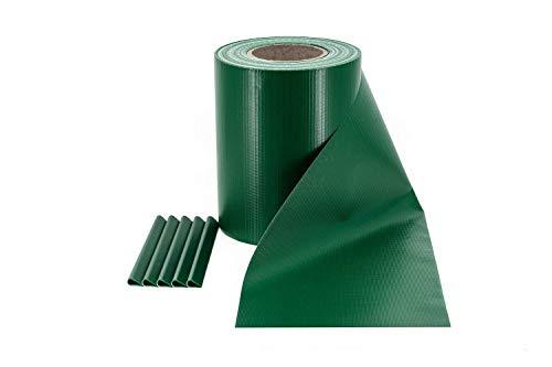 Rotolo Frangivista & Frangivento in PVC per Recinzione da Giardino a Doppia Barra | Colore: Verde | Lunghezza: 35m x 19cm con 20 Clip