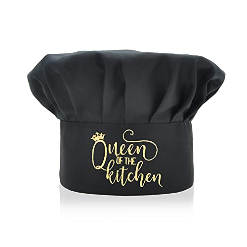 Queen of The Kitchen Chef Hat, Funny Chef Wear, Embroidered Design, Adjustable Kitchen Cooking Hat for Men & Women Black, Birthday for Mom Wife Girlfriend Aunt Grandma