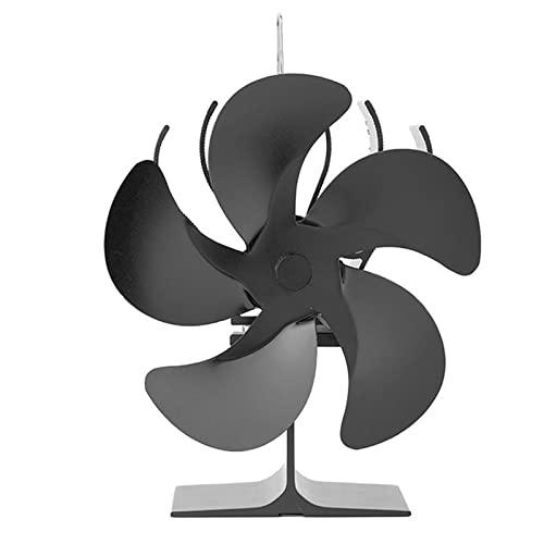 Hogar Chimenea Ventilador De Estufa Ventilador De Calor 5 Aspas Autoalimentado Protección Contra Sobrecalentamiento Eficiente Para Una Habitación Grande Chimenea Hogar Estufa De Pellets,Negro,One Size