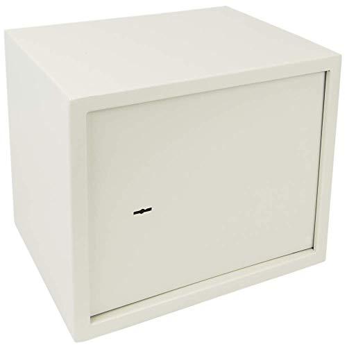 PrimeMatik - Caja Fuerte de Seguridad de Acero y con Llaves 38 x 30 x 30 cm Beige