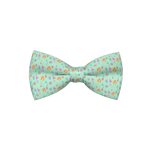 Cutie Ties Happy Birthday Aqua Dog Bow Tie Deluxe Quality 4' with Easy Slip Over Collar Elastic Bands to fit Most Collars Perfect for Small & Medium Sized Dogs-Custom Designs
