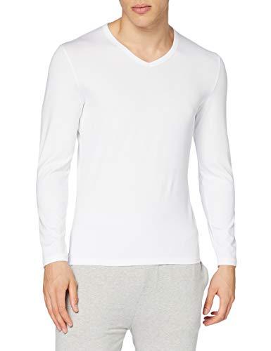 HOM, Homme, T-Shirt Col V Manches Longues Classic, Blanc, L