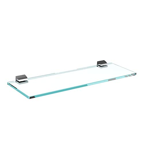 Glasregal Glasablage Wandregal Glas Bad-Regal Glas Badezimmer Regal Badablage Ablageregal - 8mm Hartglas, 40 x 12 cm, Klarglas + Halterung B - Chrom Glanz Optik