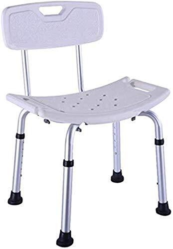 Taburete de ducha portátil de baño de altura ajustable con respaldo antideslizante de aluminio ligero para mujer con discapacidad de 150 kg