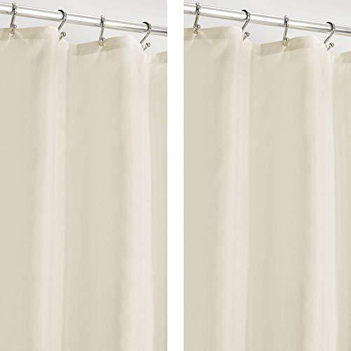 mDesign Duschvorhang, wasserabweisend, schimmelresistent, strapazierfähig, Flachgewebe, mit Beschwerungsband am unteren Saum für Badezimmer, 274.3 x 182.9 cm, 2 Stück – Natur/Cremefarben