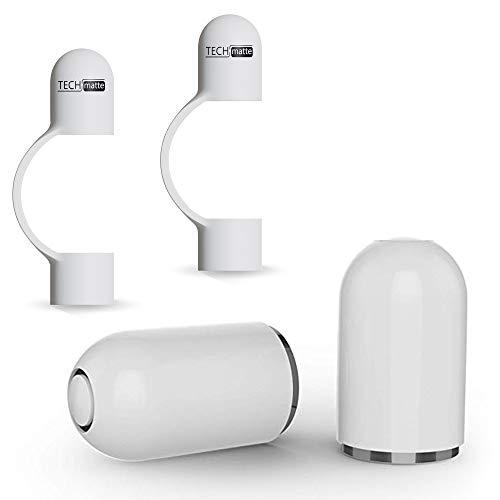 TechMatte Kappe, Magnetische Ersatzkappe und Halter für Apple Pencil (2 Stück, Weiß)