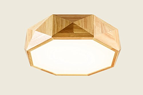Peaceip Lampe de Plafond en Plafond géométrique Nordic Wood, éclairage LED de Style Japonais pour Chambre à Coucher, étude, Restaurant, Salon (lumière Blanche) (Couleur : Convex, Taille : 68cm)