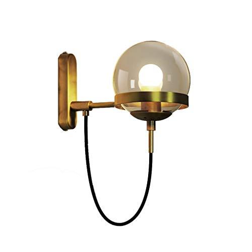 Sui Bian XH koper glazen bol wandlamp, retro nachtkastje slaapkamer restaurant gang decoratie lamp, glazen bol brons cirkel wandlamp - zwart/goud ASZ