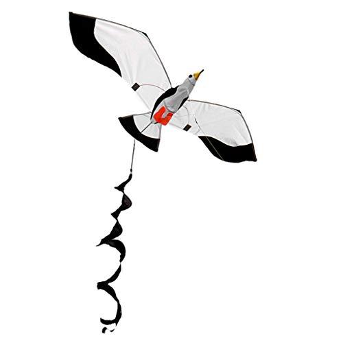 YUZI Cometas de aviota clásica 3D de una sola línea con cola y mango para deportes al aire libre de adultos y niños