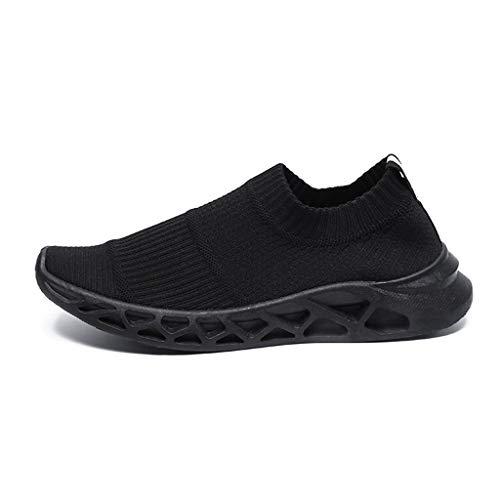 LILIHOT Herren Socken Schuhe leichte atmungsaktive fliegende Turnschuhe ein Pedal Laufschuhe Mode wilde Freizeitschuhe leichte atmungsaktive Sportschuhe Outdoorschuhe mit Freizeitschuhen (42, Schwarz)