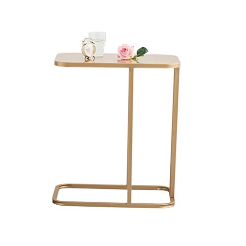 xiaokeai Sofa End Tables Iron Leisure Table Sofa Coffee Table Bedside Table Notebook Table Marble Countertop Modern Furniture Coffee Table for Living Room (Color : Gold)