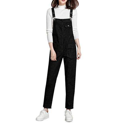 LAEMILIA LAEMILIA Latzhose Damen Hose Latzhose Denim Jeansoptik Klasse Vintage Jeans Lang Lässig Baggy Boyfriend Stylisch Overall Jumpsuit