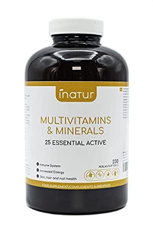 Multivitaminas y Minerales – 230 perlas | Inatur | 25 Vitaminas (A C Complejo B D E Niacina y Ácido Fólico) y Minerales activos esenciales | Suministro 7 meses