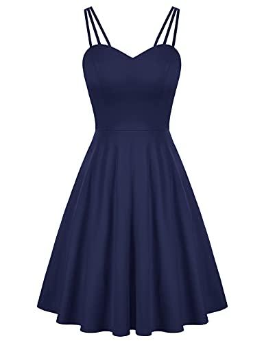 GRACE KARIN Women's Spaghetti Strap Dress V Neck Sleeveless Cocktail Dress Casual Swing A Line Club Party Dresses Navy Blue