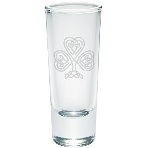 St Patrick's Day Celtic Knot Shamrock Etched Shot Glass Shooter Clear Glass Standard One Size