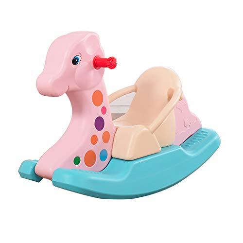 Jouets pour Enfants, Cheval à Bascule bébé Cheval à Bascule Grand siège de Voiture en Plastique épais 1-2 Ans d'âge avec de la Musique (Couleur : Rose)