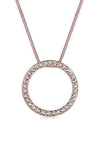 Elli Halskette Damen mit Anhänger Kreis Swarovski® Kristalle im Geo Look in 925 Sterling Silber 45 cm lang