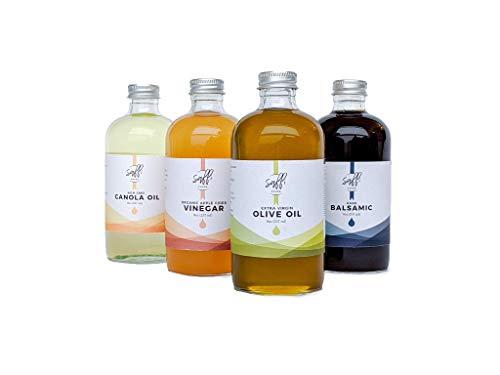 Kitchen Pantry Essentials Variety Pack - Raw Organic Apple Cider Vinegar, Extra Virgin Olive Oil, Dark Balsamic, Non-GMO Canola Oil