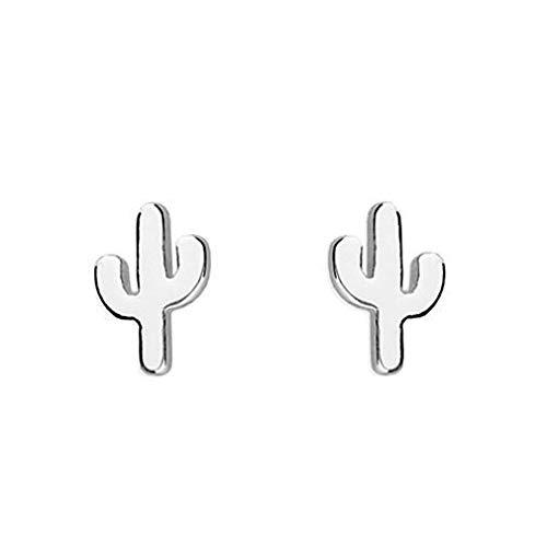 Pendientes de plata de ley con diseño de cactus