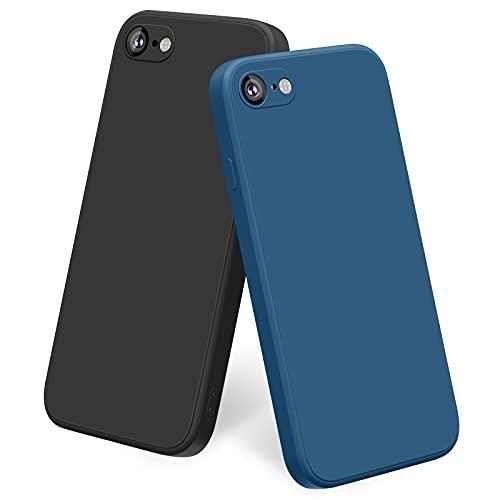 Yisica [2 Pezzi] Cover Compatibile con iPhone SE 2020 iPhone 8 7 4.7'' Custodia Silicone Liquido, TPU Cover Protettiva Completa Antiurto con Fodera in Microfibra Anti-Graffio