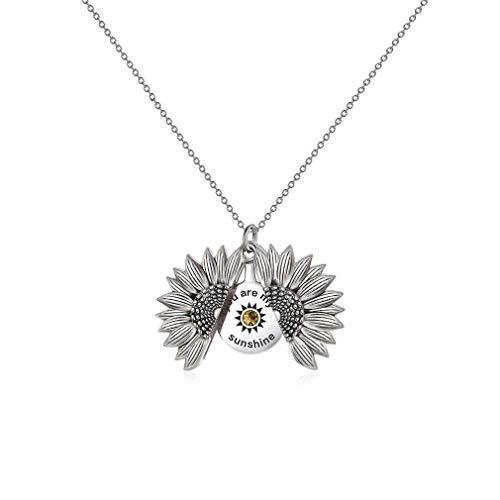 LONAGO 925 Sterling Silber Personalisierte Namenskette Offenes Medaillon Graviert Sie Sind Mein Sonnenschein Sonnenblumen Anhänger Halskette Schmuck (Style 3-White Gold)