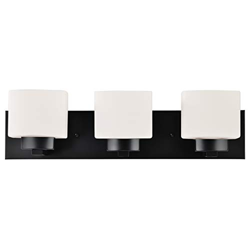 Design House 588418 Dove Creek Traditional Indoor Dimmable Light with Square Frosted Glass, 3, Matte Black