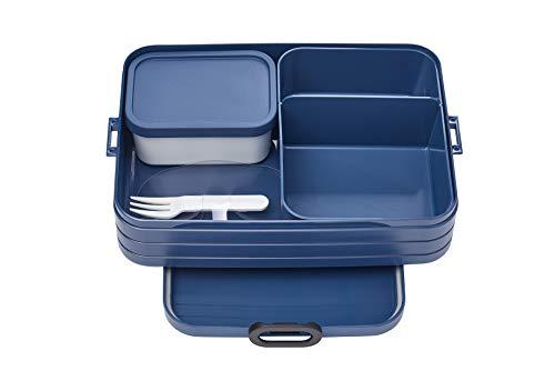 Mepal Bento-Lunchbox Take A Break Nordic Denim Large – Brotdose mit Fächern, geeignet für bis zu 8 Butterbrote, TPE/pp/abs, 0 mm