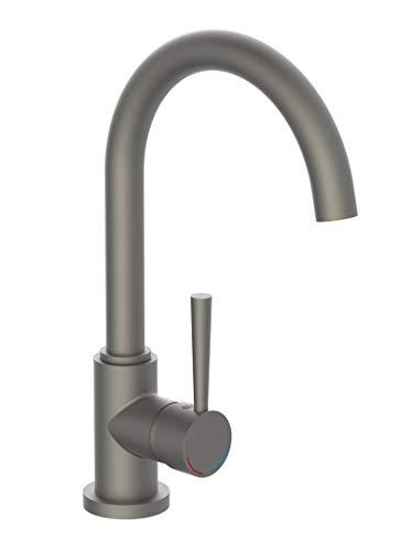 SCHÜTTE 79162 wastafelarmatuur CORNWALL, waterkraan keuken, energiebesparende functie, 360 ° draaibaar, ideaal voor dubbele spoelbak, mat grafiet