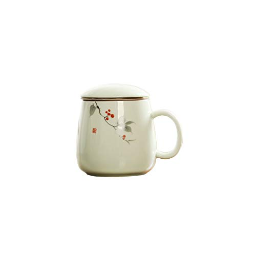 Maya Star Taza de té con Tapa y Filtro de Agua de cerámica, Taza de separación de té filtrada de cerámica, Taza de té de la Oficina NO.15