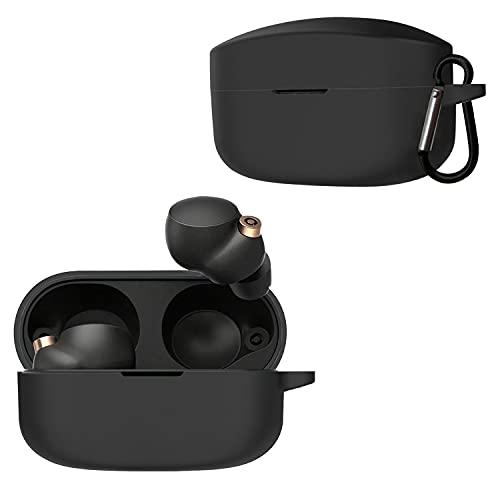 QULLOO Hülle Kompatibel mit Sony WF-1000XM4 wireless earbuds,Stoßfeste TPU Schutzhülle Silikon wf-1000xm4 Hülle mit karabiner für Sony WF-1000XM4 Schutz hüllen Zubehör - Schwarz