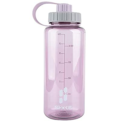 SHOKE 1 Liter Water Bottle, 32oz BPA Free Non-Toxic Tritan Wide Mouth Leakproof Large Sports Water Bottles with Handle, Gym Space Cup For Fitness Yoga Workouts Hiking
