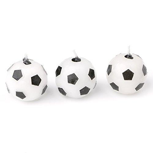 Chiic - Juego de 3 velas de cumpleaños para tartas, balón de fútbol, ideal como accesorio de cumpleaños