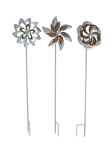 Set of 3 Farmhouse Style Galvanized Metal Spinner Garden Stakes - Favorite Decor Store