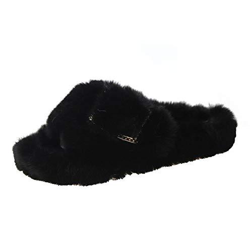 Aupast Zapatillas de Mujer con Piel Zapatillas Interior Sandalia Plana Mujer para Invierno Verano Open Toe Chanclas Mullidas para Interiores y Exteriores