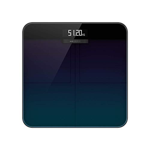 Amazfit Báscula Inteligente de composición corporal báscula de pesaje personal digital con análisis inteligente 16 parámetros de composición corporal, aplicación para IOS y Andriod Aurora