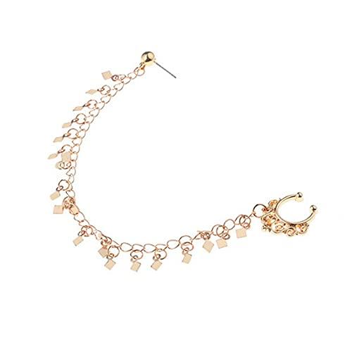 yonghe 1 x joyería de moda pendientes de nariz con borla de lentejuelas cadena de eslabones con personalidad geométrica punk pendientes de nariz dorada (color metálico: dorado)