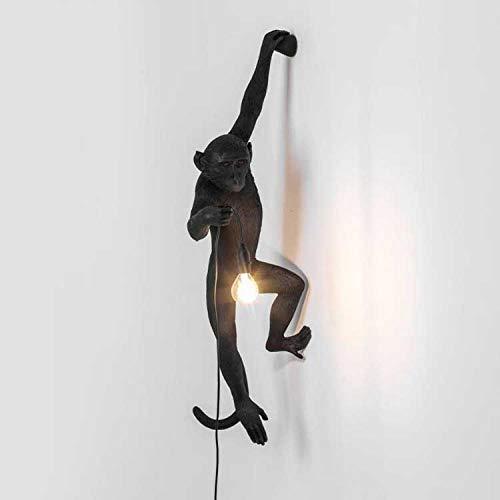 Monkey Lamp Schwarz-Hängend Harz Affe Tischlampe Wandlampe Kronleuchter Stehlampe Schwarz Harz Material E28 kreative Land Retro Kronleuchter Bar Cafe Restaurant Hanf Kronleuchter@black wall lamp