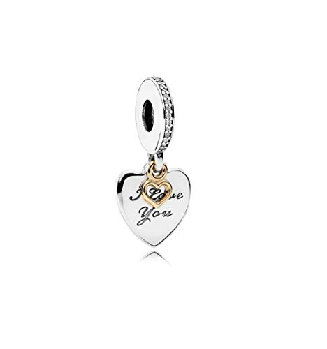 FGT Gold Heart Charm for Bracelet Anniversary Charm I Love You Dangle Charm for Wife Girlfriend Mum Birthday Gift