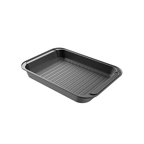 Classic Cuisine 82-KIT1104 Roasting Pan with Rack Nonstick Oven Roaster with Removable Grid to Drain Fat and Grease-Healthier Cooking with Kitchen Bakeware
