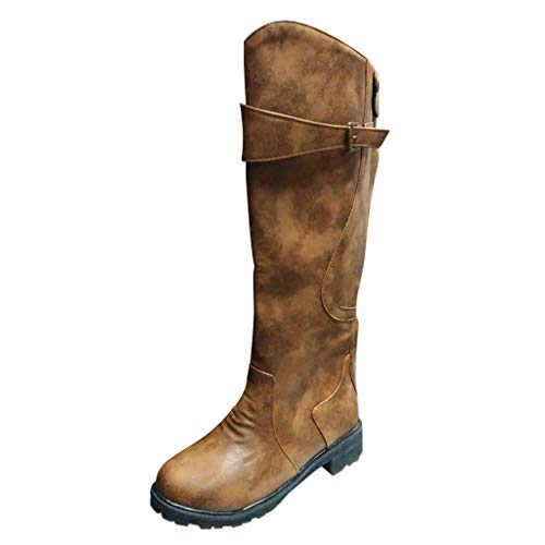 Frauen Winterstiefel Schnallen Neutral Mid Heels Cool Retro Reißverschluss Reiten Schneeschuhe Schuhe YunYoud Lange Schaftstiefel Wildlederstiefel