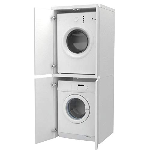 Ve.Ca. Mobile colonna con ante Coprilavatrice in legno, copri lavatrice asciugatrice, diversi colori, anche su misura, lavanderia bagno (Bianco frassinato)